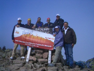 The Parker family is seen at the summit of Mount Katahdinin Maine this August