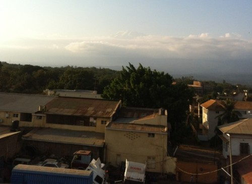 Our First View of Kilimanjaro - The 3 Tiny Snow Lines At The Top