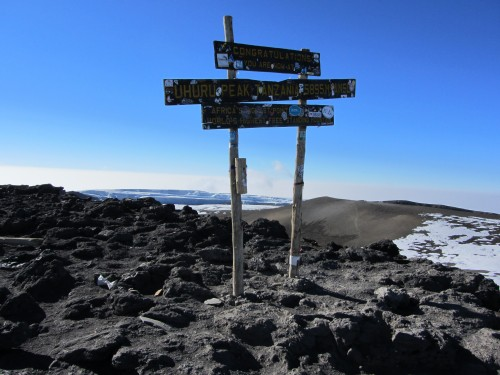 There it stood - in the distance - The Kibo Summit Sign at 19,340 feet!